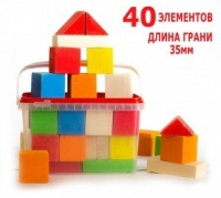 Деревянный развивающий конструктор 40 окрашеных элементов